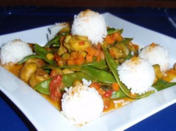 Champignon-Gemüse-Pfanne mit Basmati-Duftreis - Rezept