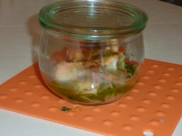 Fisch auf Lauchgemüse im Weckglas - Rezept