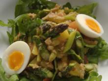 Lauwarmer Salat von grünem Spargel  und Thunfisch - Rezept
