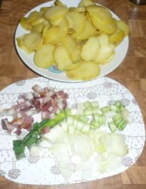 Rezept: Kartoffelsalat warm und Viktoria Seebarschfilet