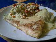Fisch: Pikantes Kabeljaufilet mit Gemüsereis und Senf-Dill-Soße - Rezept