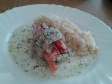 Fisch-Röllchen an Chili-Reis und Dill-Soße - Rezept