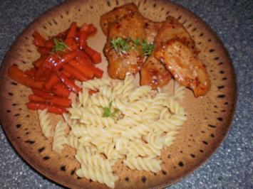 Scharfes Honig-Schnitzel mit Möhrengemüse - Rezept