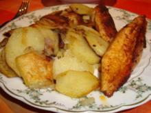 Scheibekartoffeln und gebratenes Hähnchenfilet - Rezept