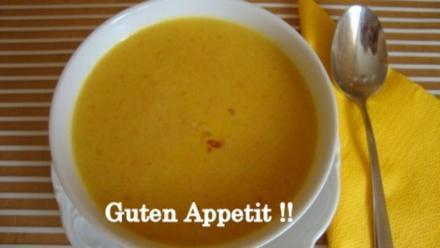 Karotten-Ingwer Suppe mit gebratenen Garnelen - Rezept