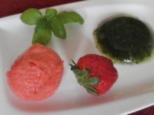 Cremiges Erdbeersorbet zu Basilikum - Gelee - Rezept
