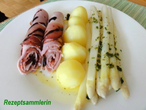Gemüse:   SPARGEL mit Kräuterbutter und Schinkenröllchen - Rezept