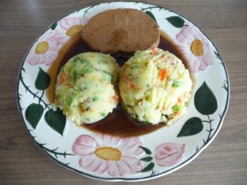 Resteverwertung : ... vom Veggi-Braten dazu bunten Kartoffelbrei - Rezept