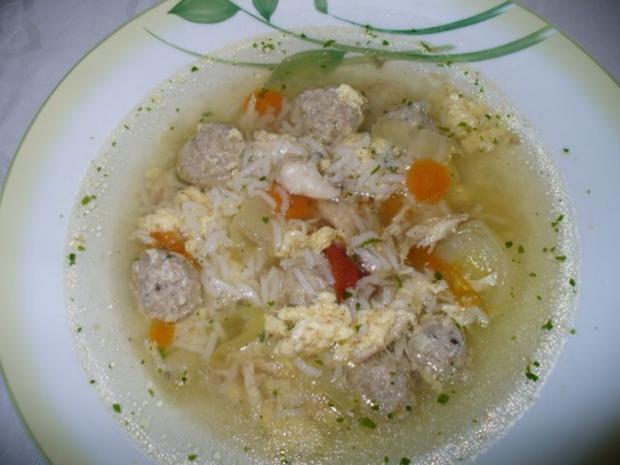 Klare Suppe mit Reis - Rezept