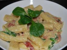 Pasta mit Vanille-Carbonara und Feldsalat - Rezept