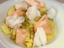 Tagliatelle in Zitronen-Curry-Sauce mit Erbsen, Spargel und Fisch - Rezept