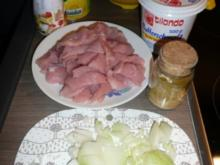 Puten-Champignon-Ananas-Curry,dazu Apfel-Sellerie-Salat - Rezept