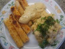Gemüse: Spargel, gebacken mit Kräuter-Püree und Kräuter-Creme - Rezept