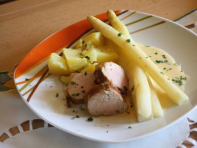 Spargel mit Schweinefilet und Sauce Hollandaise - Rezept