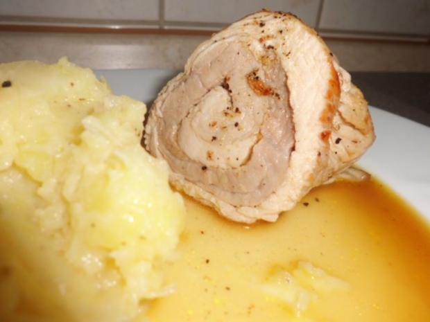 Fleisch: Rolle von Pute & Schwein in Orangen-Ananas-Soße und Kartoffel-Sauerkraut-Stampf - Rezept