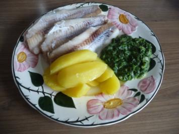 Fisch : Alaska - Seelachs an Spinat und Kartoffeln - Rezept