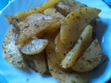 Gebackene Kartoffelspalten. - Rezept