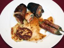 """Steakroulade """"Gaucho-Art"""" mit Majoran-Rösti und Prinzessbohnen - Rezept"""