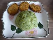 Hackfleisch : Fleischküchle mit Möhren an Kartoffel-Broccoli-Brei - Rezept