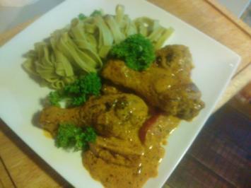 Tikka-Masala Huehnchen-Pfanne mit Pasta (sehr feurig, aber pikant) - Rezept
