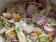 Bunter gemischter Salat mit Crème-Fraîche-Dressing - Rezept