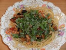 Hauptgericht: Spaghetti mit Auberginen und Garnelen - Rezept