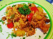 Gemüsiges Reisfleisch mit Resten vom Grillen - Rezept