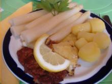 Wiener Schnitzelchen mit Spargel, Kartoffelpilzen *) und zerlassener Butter - Rezept