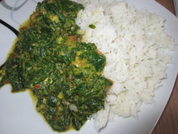 Indische Garnelen-Spinat-Pfanne mit Basmati-Reis - Rezept