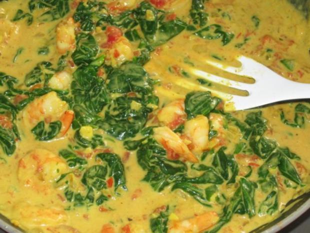 Indische Garnelen-Spinat-Pfanne mit Basmati-Reis - Rezept - Bild Nr. 13