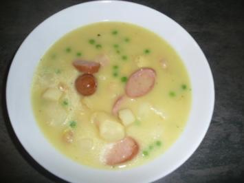 Curry-Spargelcreme-Suppe mit gekochter Krakauer - Rezept