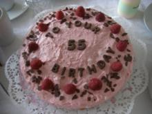 Himbeer-Mascarpone-Torte mit Wiener-Boden / Bisquit-Boden - Rezept