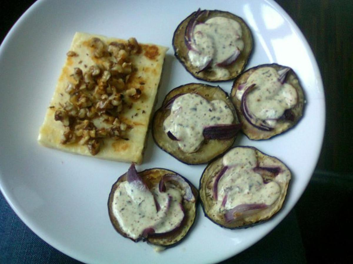 halloumi mit karamellisierten waln ssen und berbackenen auberginen rezept. Black Bedroom Furniture Sets. Home Design Ideas