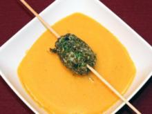 Orangen-Karottencremespüppchen mit Jakobsmuscheln - Rezept