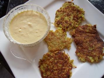 Pikante Kartoffel-Kokos-Puffer mit Mango-Dip - Rezept