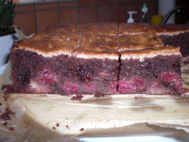 Schoko-Kirsch-Kuchen mit einem Guss, - Rezept - Bild Nr. 11