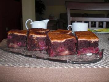 Schoko-Kirsch-Kuchen mit einem Guss, - Rezept