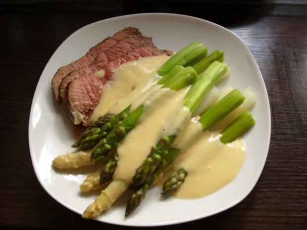 Spargel mit Roastbeef und Sauce Hollandaise - Rezept