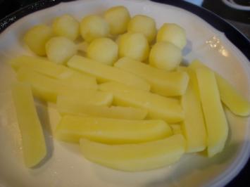 Kartoffeln in Pommes frites- und Bällchenform - Rezept