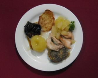 Zweierlei Pfannkuchen mit verschiedenen Kompotten u. Geschnetzeltem vom Peter - Rezept