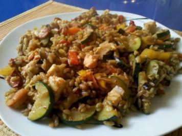 Fisch: Fischpfanne mit Grünkern - Rezept