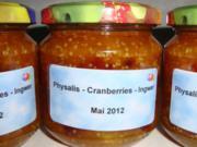 Physalis-Cranberries-Ingwer Marmelade - Rezept