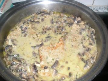 Saftschnitzel mit Champignonsoße - Rezept
