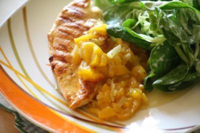 Hühnerbrust mit Pfirsichsoße - Rezept