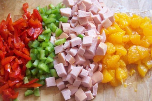 Fruchtiger Nudelsalat mit Mandarinen und Mango-Chutney - Rezept - Bild Nr. 2
