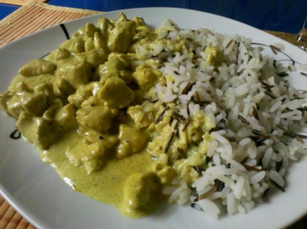 Geflügel: Green-Curry-Sahnegeschnetzeltes mit Wildreis - Rezept