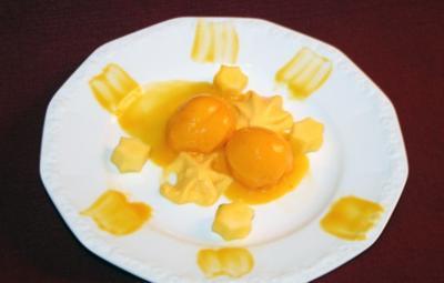 Rezept: Mango-Chili-Sorbet mit Mango-Espuma