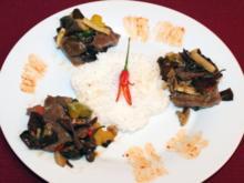 Rindfleisch mit dreierlei Pilzen und Jasminreis - Rezept