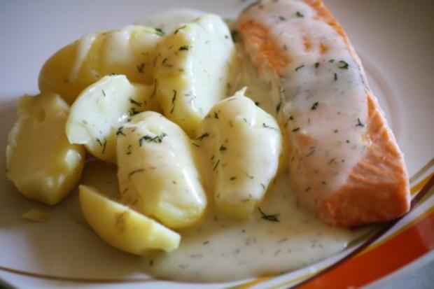 Lachs mit Zitronen-Dillsoße - Rezept