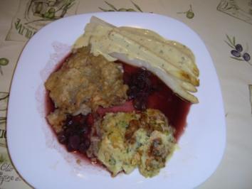 Steak Strindberg an Spargel mit Schalotten-Rotweinsauce - Rezept